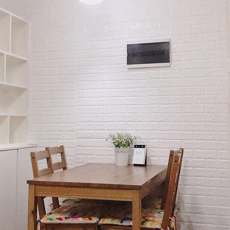 """main image of """"Pegatinas de pared 3D de espuma de PE, papel tapiz autoadhesivo a prueba de humedad, patr¨®n de ladrillo, 60x30cm, blanco"""""""