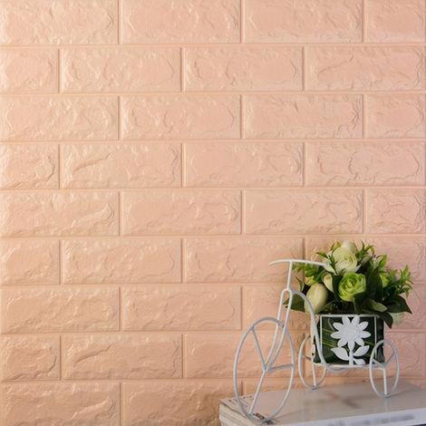 Pegatinas de pared 3D de espuma PE, patron de ladrillo,60x30CM,Naranja champ¨¢n