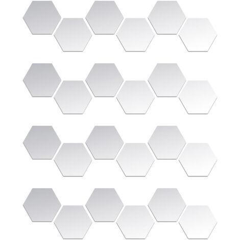 Pegatinas de pared de espejo hexagonal de 24 piezas, calcomanias de pared extraibles