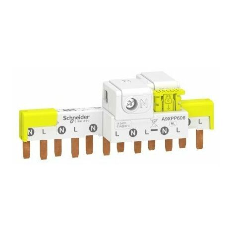 Peigne avec connecteurs intégrés - Raccordement horizontal Acti9 - 63A - 1P+N - 6 modules de 18mm