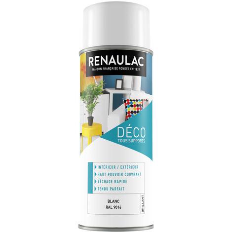 Peinture Aérosol Déco multi-supports Blanc Brillant 400 ML Renaulac (vendu par 6)