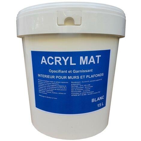 Peinture Acryl Mat BLANC 15L   Conditionnement: 15 Litres