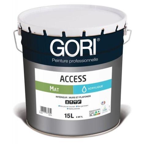 Peinture acrylique murs et plafonds GORIACCESS MAT, coloris blanc bidon de 15 litres