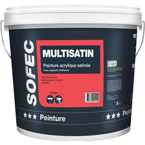 Peinture acrylique satinée Multisatin 15,2L | Finition: Satinée - Couleur: Blanc