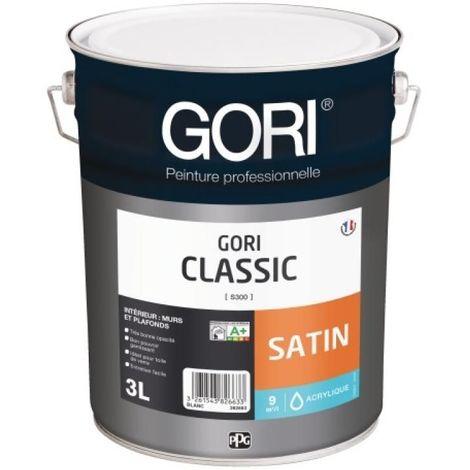 Peinture acrylique satinée murs et plafonds GORICLASSIC, blanc bidon de 3 litres
