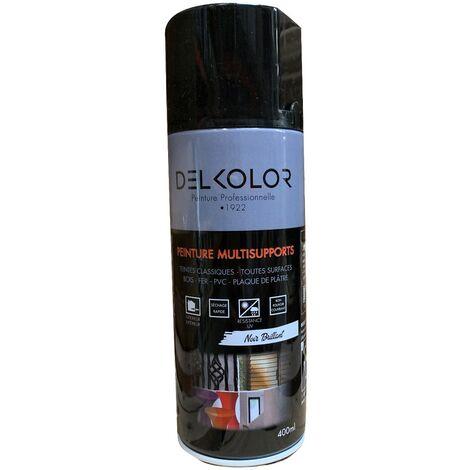 Peinture aérosol Delkolor RAL 9005 Noir Brillant 400ml | Couleur: Noir RAL 9005