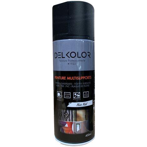 Peinture aérosol Delkolor RAL 9005 Noir Mat 400ml   Couleur: Noir RAL 9005
