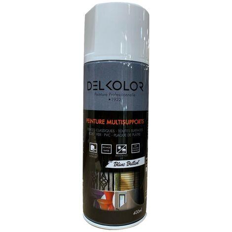 Peinture aérosol Delkolor RAL 9010 Blanc Brillant 400ml | Couleur: Blanc pur RAL 9010