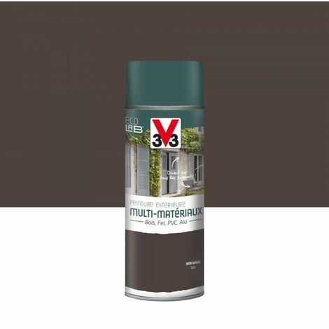 Peinture aérosol Extérieur multi-matériaux V33, brun havane satiné, 0.4 l