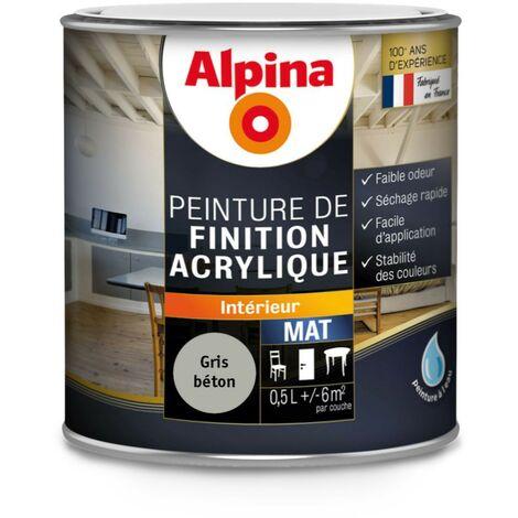 Peinture Alpina Acrylique 05l Mat Aspect Mat Couleur Gris