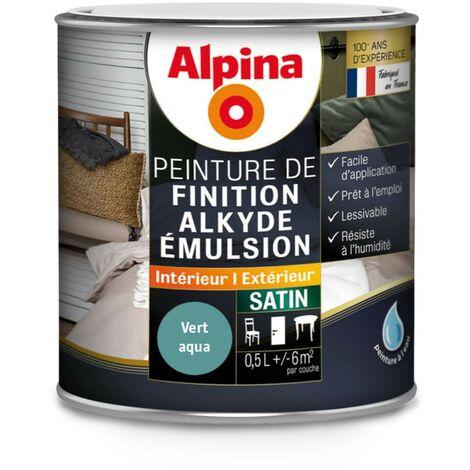 Peinture Alpina Alkyde émulsion 0,5L Satin | Finition: Satinée - Couleur: Vert aqua