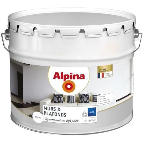Peinture Alpina murs & plafonds 10L Blanc mat