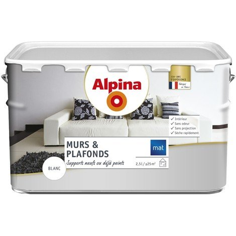 Peinture Alpina murs & plafonds 2,5L Blanc mat