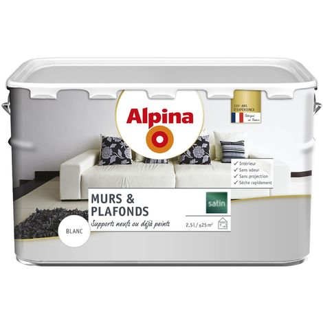 Peinture Alpina murs & plafonds 2,5L Blanc satin