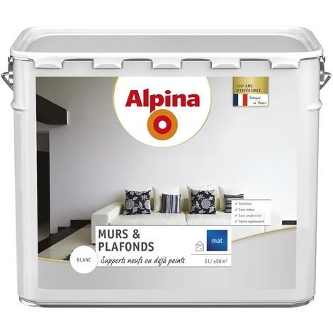 Peinture Alpina murs & plafonds 5L Blanc mat