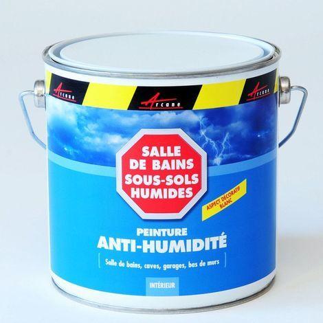 PEINTURE ANTI-HUMIDITE ANTI MOISISSURE MURS HUMIDES BETON PLATRE PLACO- ARCASCREEN - ARCANE INDUSTRIES - Blanc - 2.5L (jusqu a 10m²)