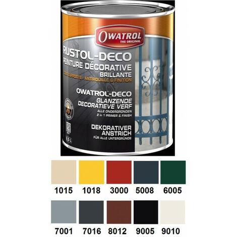 Peinture antirouille brillante au RAL décorative 2,5L multi supports Rustol Deco OWATROL - plusieurs modèles disponibles