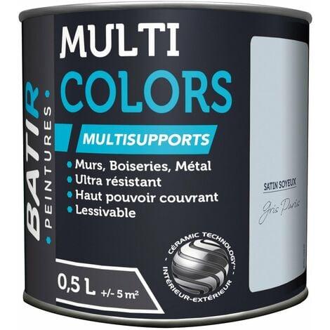Peinture batir multi-supports satin soyeux 0,5 l gris paris