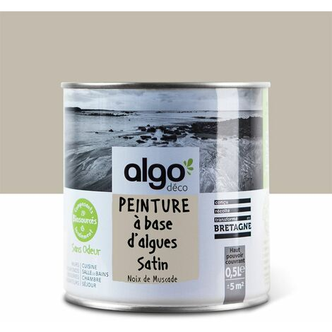Peinture Biosourcée Décorative Algo Beige Finition Satin 0,5L (Beige Neutre)