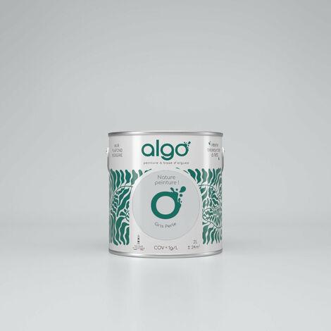 Peinture Biosourcée Décorative Algo Grise Finition Satin 2L (Gris Perle)