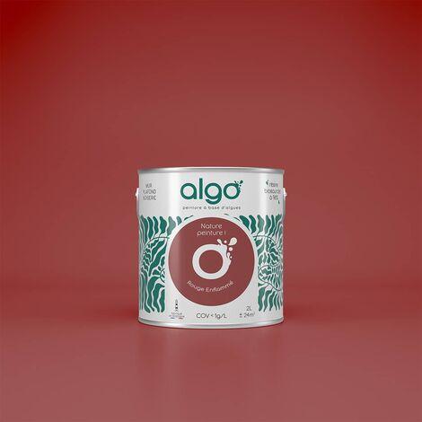 Peinture Biosourcée Décorative Algo Rouge Finition Satin 0,5L (Rouge Enflammé)