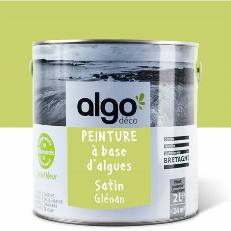 Peinture Biosourcée Décorative Algo Verte Finition Satin 2L (Glénan)