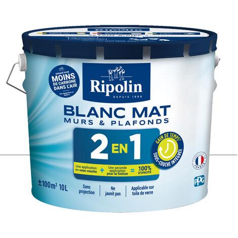 Peinture Blanc Mat pour Murs & Plafonds avec Sous-Couche Intégrée, 10L Ripolin
