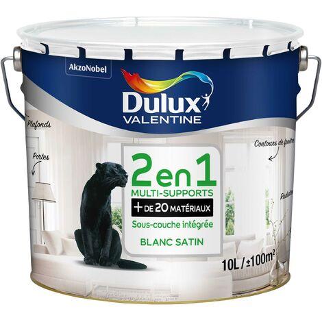 Peinture Blanche 2 en 1 multi-supports (20 matériaux) 10L - avec sous-couche intégré - Dulux Valentine