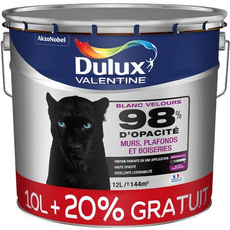 """main image of """"Peinture Blanche 98% Monocouche - Velours 12L - pour Murs Boiseries et Plafonds - Dulux Valentine"""""""