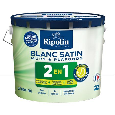 Peinture Blanche Satin pour Murs & Plafonds avec Sous-Couche Intégrée, 10L Ripolin