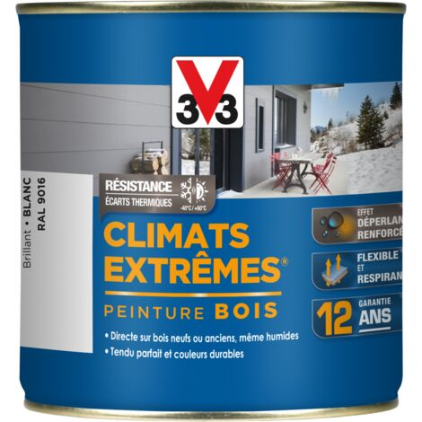 Peinture bois Climat Extrême Brillant 0,5L (teinte au choix) V33 - Ton: Blanc