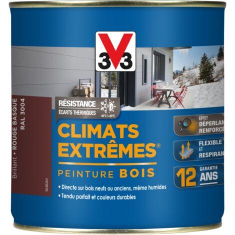 Peinture bois Climat Extrême Brillant 0,5L (teinte au choix) V33 - Ton: Rouge basque