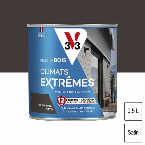 Peinture bois Climat Extrême Satin 0,5L (teinte au choix) V33 - Ton: Brun havane