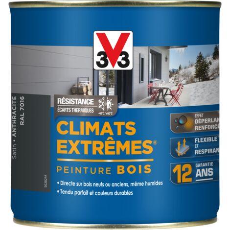 Peinture bois Climat Extrême Satin 0,5L (teinte au choix) V33 - Ton: Gris anthracite