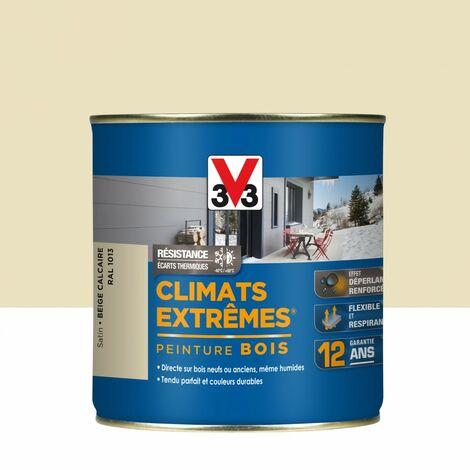 Peinture bois extérieur Climats extrêmes® V33, beige calcaire satiné 0.5 l