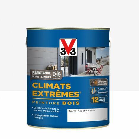 Peinture bois extérieur Climats extrêmes® V33, blanc satiné 2.5 l