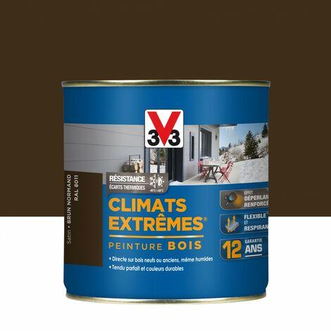 Peinture bois extérieur Climats extrêmes® V33, brun normand satiné 0.5 l
