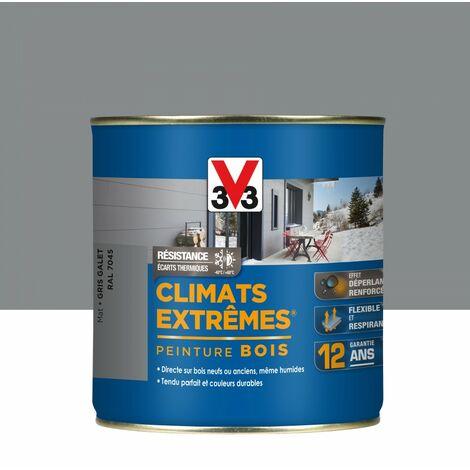 Peinture bois extérieur Climats extrêmes® V33, gris galet mat 0.5 l