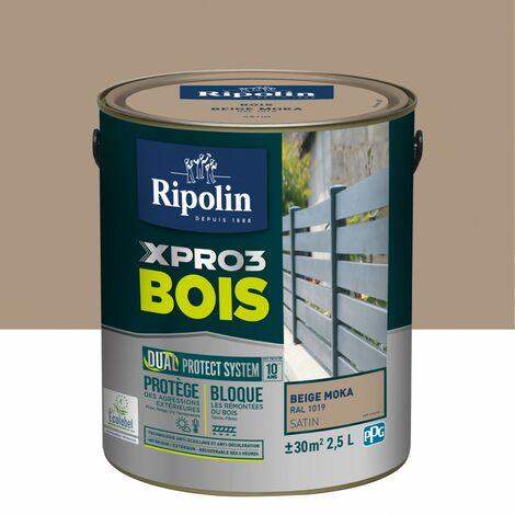 Peinture bois extérieur / intérieur Xpro3 RIPOLIN, beige moka satiné 2.5 l