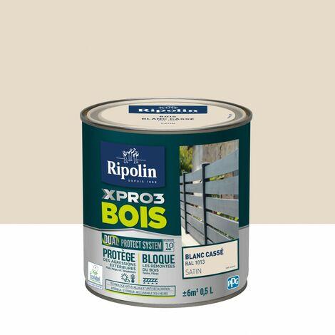 Peinture bois extérieur / intérieur Xpro3 RIPOLIN, blanc casse satiné 0.5 l