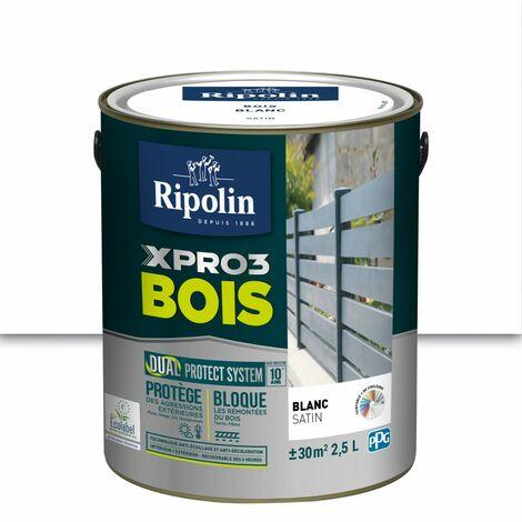 Peinture bois extérieur / intérieur Xpro3 RIPOLIN, blanc satiné 2.5 l
