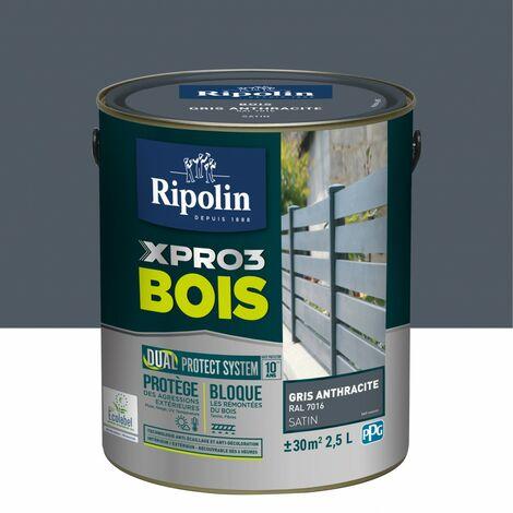Peinture bois extérieur / intérieur Xpro3 RIPOLIN, gris anthracite satiné 2.5 l