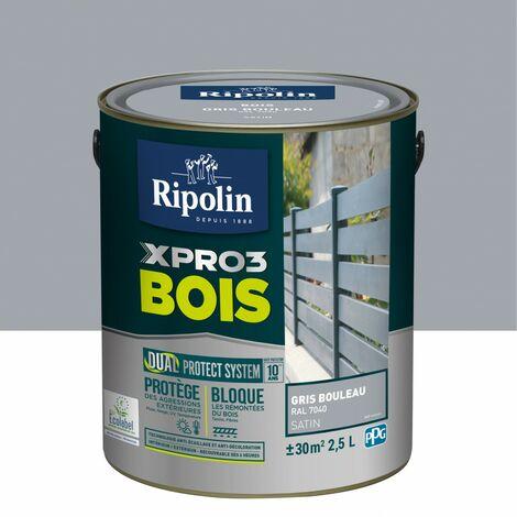 Peinture bois extérieur / intérieur Xpro3 RIPOLIN, gris bouleau satiné 2.5 l