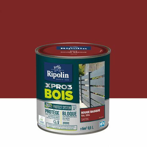 Peinture bois extérieur / intérieur Xpro3 RIPOLIN, rouge basque satiné 0.5 l
