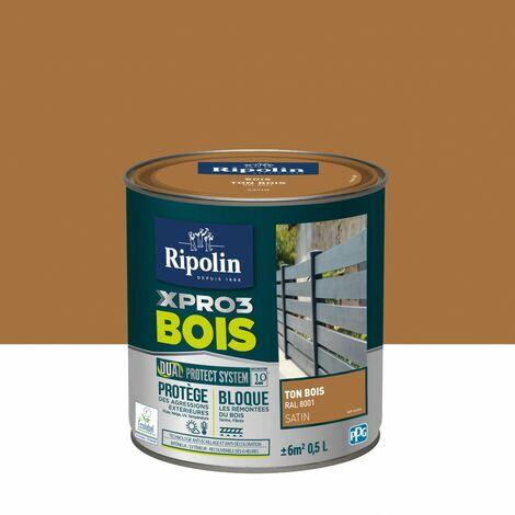 Peinture bois extérieur / intérieur Xpro3 RIPOLIN, ton bois satiné 0.5 l