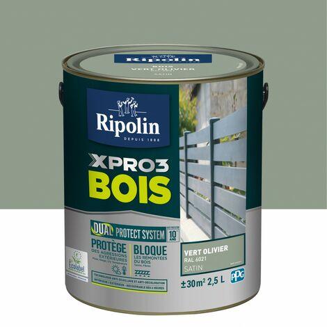 Peinture bois extérieur / intérieur Xpro3 RIPOLIN, vert olivier satiné 2.5 l