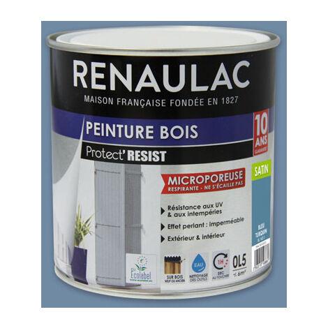 Renaulac Peinture Bois Microporeuse Bleu Turquin - Garantie 10 ans - 0,5L - 6m² / pôt