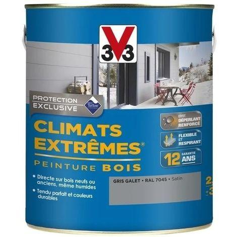 Peinture bois satin climat extrême 2,5L (gris galet) - Ton : Gris galet