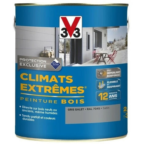 Peinture bois satin climat extrême 2,5L - Ton: Gris galet