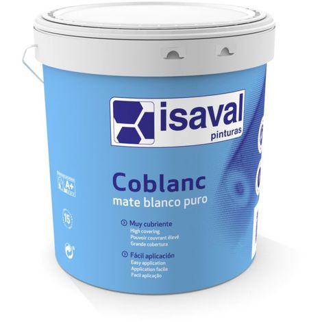 "main image of ""Peinture Coblanc Mat Plafond et Mur 15 Litres Blanc - Isaval"""